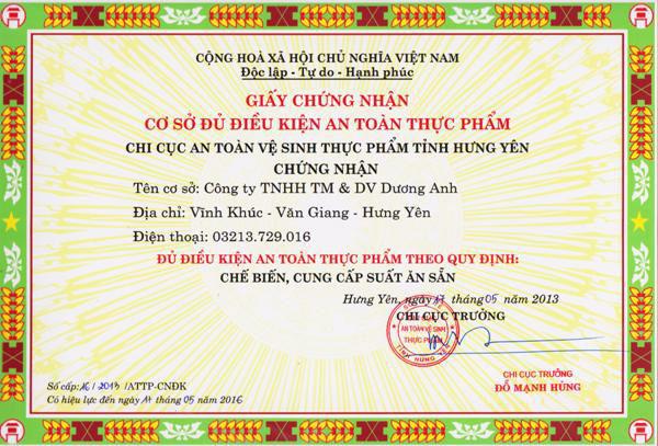 Thủ tục xin cấp giấy phép cơ sở đủ điều kiện vệ sinh an toàn thực phẩm tại Hà Tĩnh
